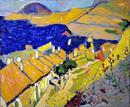 Colloiure Andre Derain : (1880-1954): French painter, sculptor, illustrator, stage designer and collector. He was a leading exponent of Fauvism. In early 1908 he destroyed most of his work to concentrate on tightly constructed landscape paintings, which were a subtle investigation of the work of Cézanne. After World War I his work became more classical, influenced by the work of such artists as Camille Corot. In his sculpture he drew upon his knowledge and collection of non-Western art.