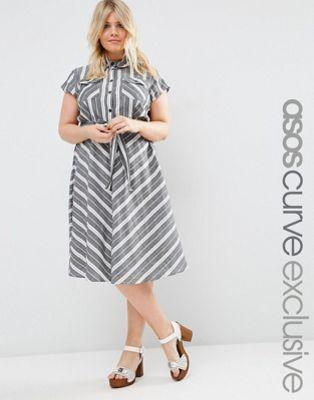 ASOS CURVE Tie Waist Midi Shirt Dress In Natural Stripe