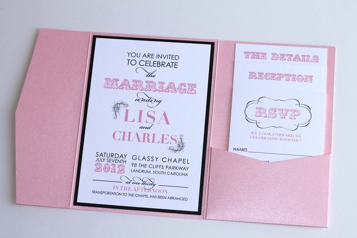 Black Pink Wedding Invitations: Embellished Paperie: Modern Wedding Invitation