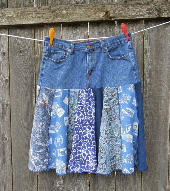 Recycled Denim Jeans Skirt Upcycled Patchwork Levi