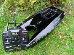 Angling Technics Procat MKIII Bait boat. My Rating 90 out of 100. Dimensions: (L x W x H) 62cm, 28cm, 13.5cm Range (metres): 200m. Battery life: 1.5 hours approx. Bait capacity:  0.75 kg approx. Powered: Two drive motors- zero maintenance. Unique feature: Very accurate steering and good control. The boat can do a full 360 degree turn with minimal fuss.  http://bestbaitforcarpfishing.com/bait-boat-reviews-continued