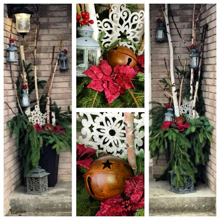 My front door. Front entrance Christmas decor.  DIY planter filled with evergreen branches, lanterns hung with baler twine on birch tree branches, rustic bell, glitter snowflakes, poinsettia :)