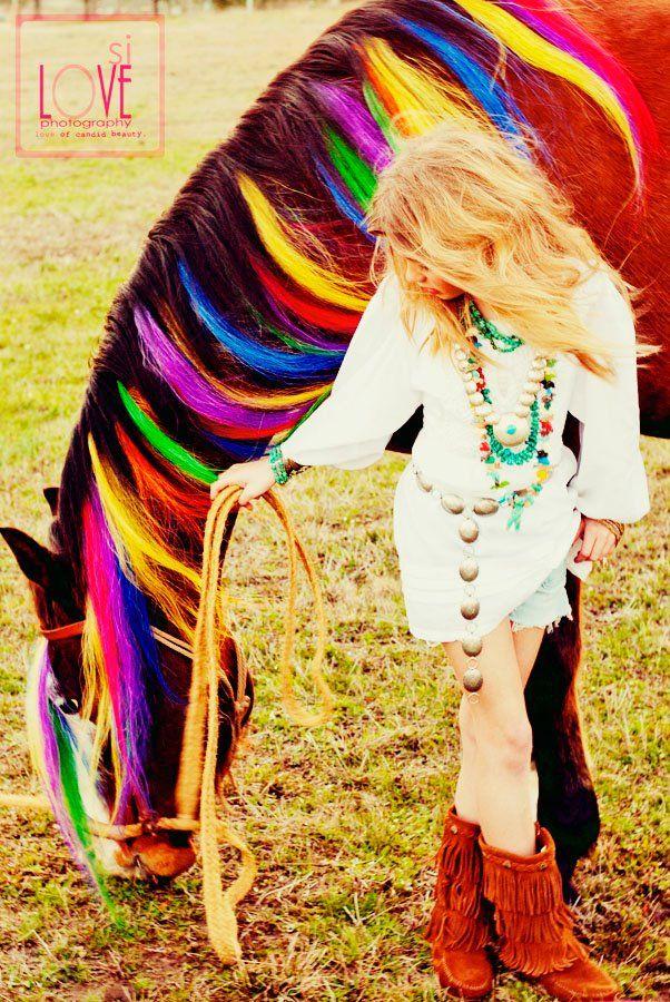 Rainbow horse hair!