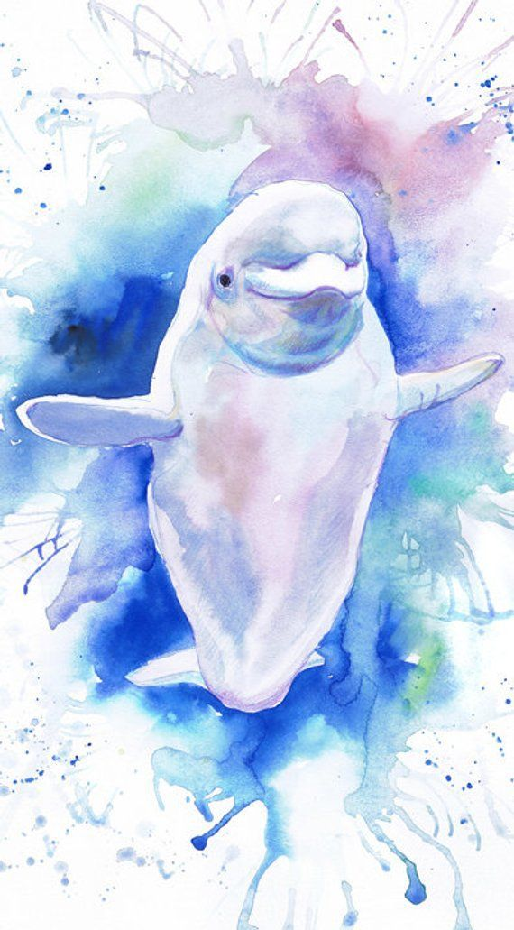 Beluga Whale Print Ocean Animals Watercolor Painting Etsy