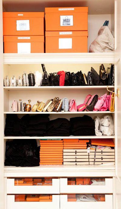 organized closet: Dressing Rooms, Idea, Hermes, Dream Closet, Closets, Closet Organization, Bag, Orange Boxes, Organized Closet