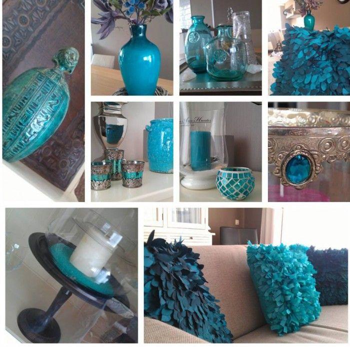 kleuren en sfeer  - Groen/blauwe accessoires in woonkamer