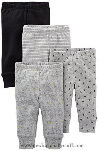 Baby Boy Clothes Simple Joys by Carter's Boys' 4-Pack Pant, Black/Gray/Dino/Anchor, 18 Months