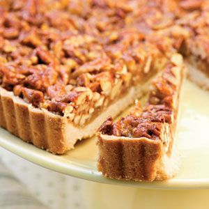 Caramel-Pecan Tart  3 1/2 cups coarsely chopped pecans  2 cups all-purpose flour $  2/3 cup powdered sugar  3/4 cup butter, cubed $  1/2 cup firmly packed brown sugar  1/2 cup honey  2/3 cup butter $  3 tablespoons whipping cream