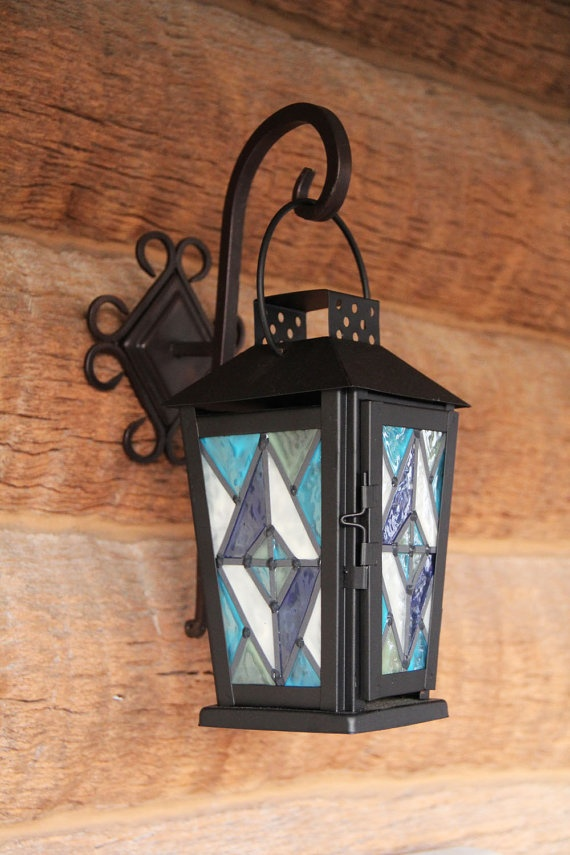 Blue Diamond Faux Stained Glass Lantern by KristinHeron on Etsy, $20.00