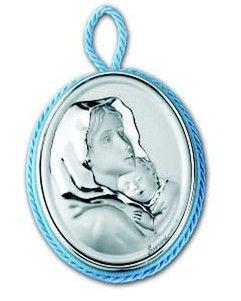 Medalion z pozytywką ozdobiony srebrnym emblematem przedstawiającym Matkę Boską Cygańska, idealny na prezent z okazji Chrztu. #dla_dziecka #upominek #urodziny