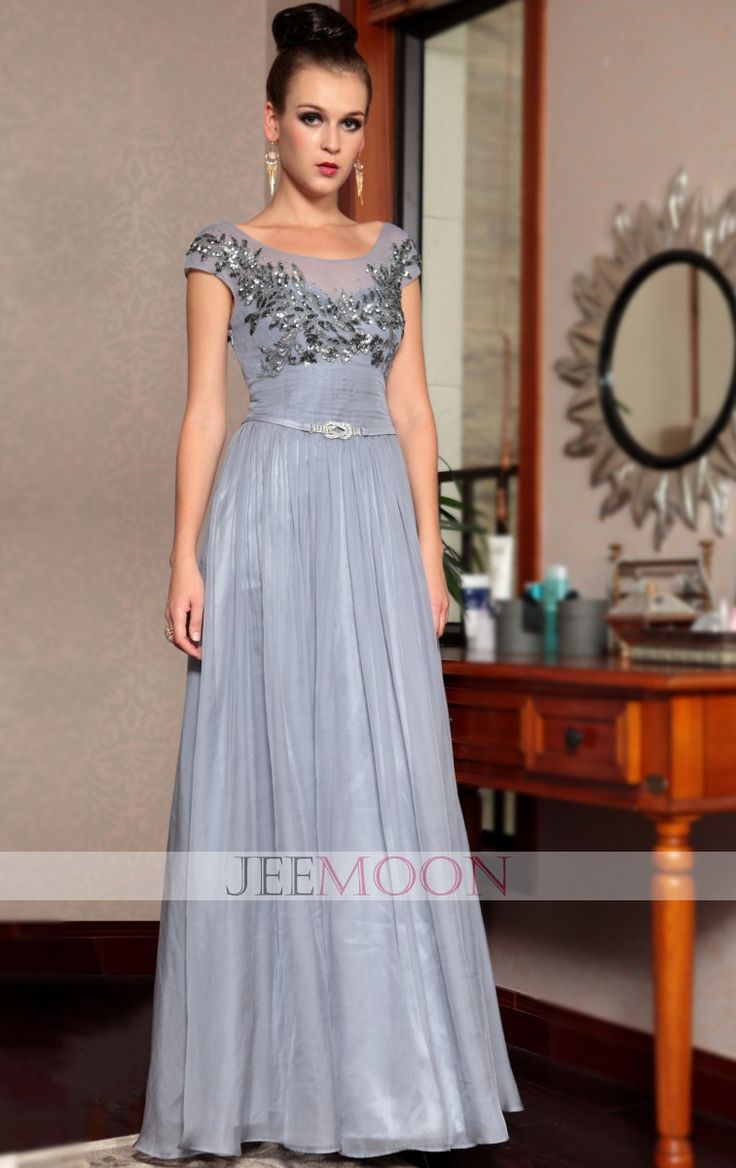 A-line Scoop Floor-length Light Sky Blue Chiffon Formal/Evening Dress