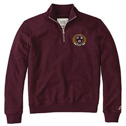 TheCoop - The Harvard / MIT Cooperative Society Store Harvard 1/4 Zip Women's maroon Carbon brushed for softness-petite waffle lined hood-trend-right labels, trims and sewing details 60%cotton/40% poly sewn on Veritas applique on left chest Sizes S to XL - Women's Apparel & Hats