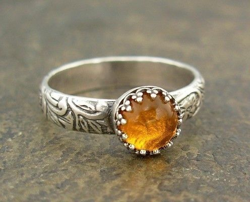 Baltic Amber Ring  Sterling Silver  Size 6.5  by StemsAndPieces
