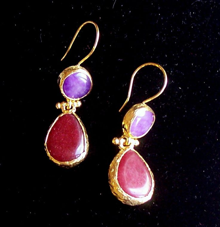 Handmade double stone earings with tear drop agates,colours purple and red,  gold plated and semi precious gemstones, jewelry and balance by GardenOfLinda on Etsy