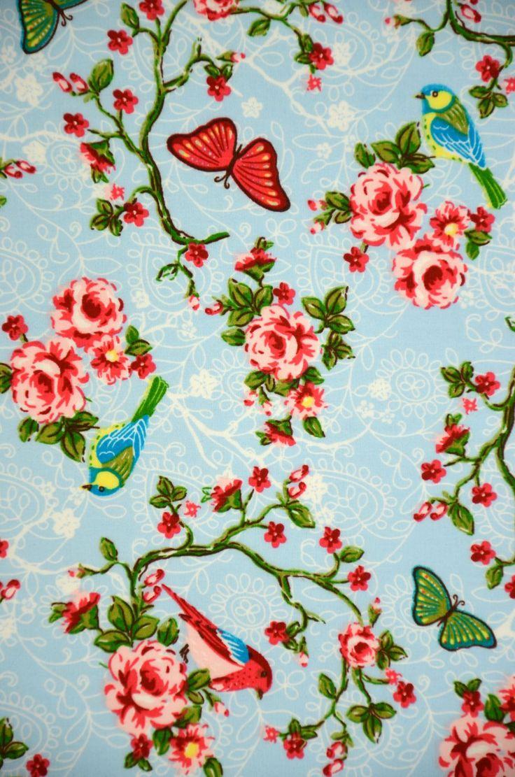 Selecteer deze gordijnstof (Be. 1435 Daisy vogel l.blauw)