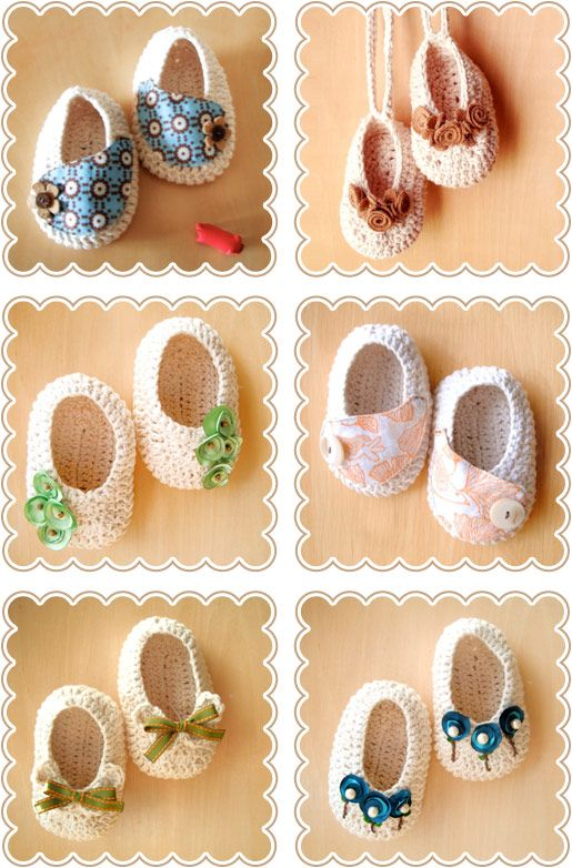 Crochet baby slippers -- so stinkin' adorable! (Found the actual post, so this pin has a working link.)
