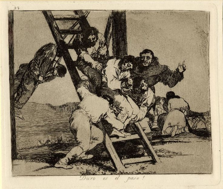 Image gallery: Duro es el paso! (It's a hard step!) / Los Desastres de la Guerra (The Disasters of War) - Plate 14: condemned man being guided up(?) ladder onto gibbet; from an unbound album of first edition impressions, 1863. 1810-12 Etching, burnished lavis, drypoint and burin, with surface tone