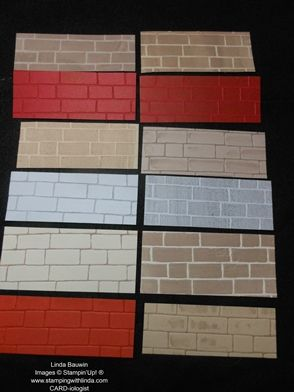 Stampin' Up! Brick Wall Technique_Linda Bauwin - Variations on a brick wall - see post for video or watch it here - https://youtu.be/eEQO1eyA3Hs