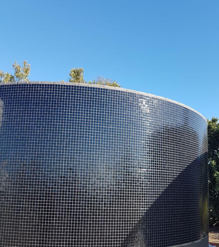Black glass mosaic exterior tiling Charcoal granite coping