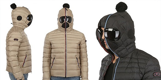 Super strange down jacket by Luisaviaroma with integrated sun glasses.