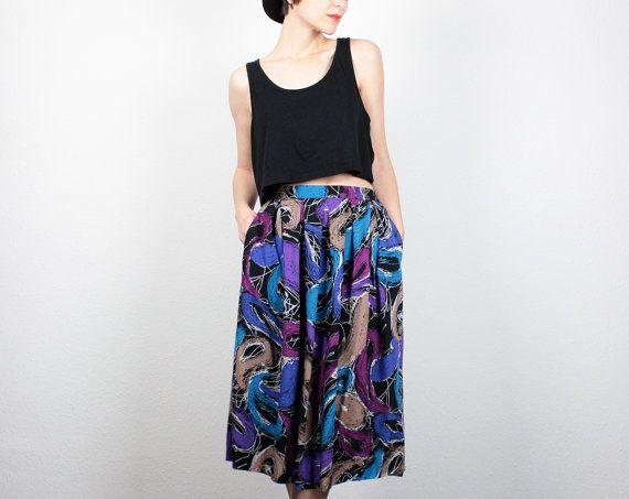 Vintage 80s Skirt Purple Blue Black Midi Skirt 1980s Skirt New Wave Abstract Print Knee Length Skirt Hipster High Waisted Skirt M Medium