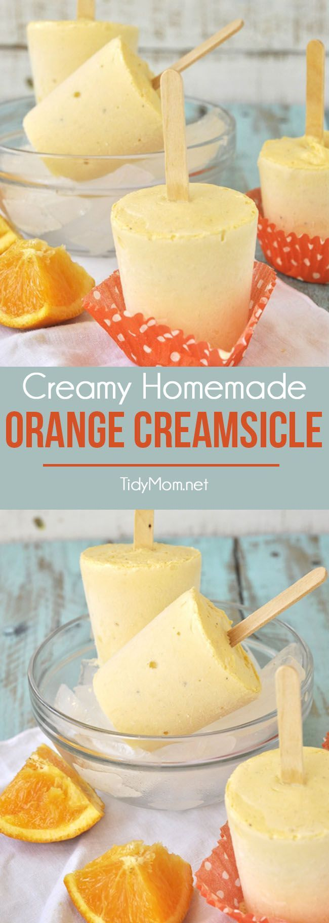 This homemade Orange Creamsicle frozen treat is fun to make and dripping with orange and vanilla, a refreshing classic summer flavor combination. recipe at TidyMom.net