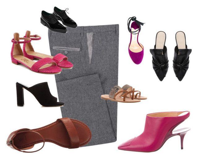 """Combina pantalón-zapatos 2"" by myrna-lopez-1 on Polyvore featuring moda, Diverso, Salvatore Ferragamo, Maison Margiela, Jimmy Choo, Frye, Joop!, Stuart Weitzman, Oxford y Witchery"