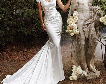 Silhouette sirena da sposa sposa abito raso abito di SunsetNirvana