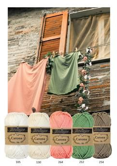 Kleurinspiratie ~ Warm tones. Prachtige kleurencombinatie van Scheepjeswol om mee te haken of te breien. Off white - zalm - groen en bruin