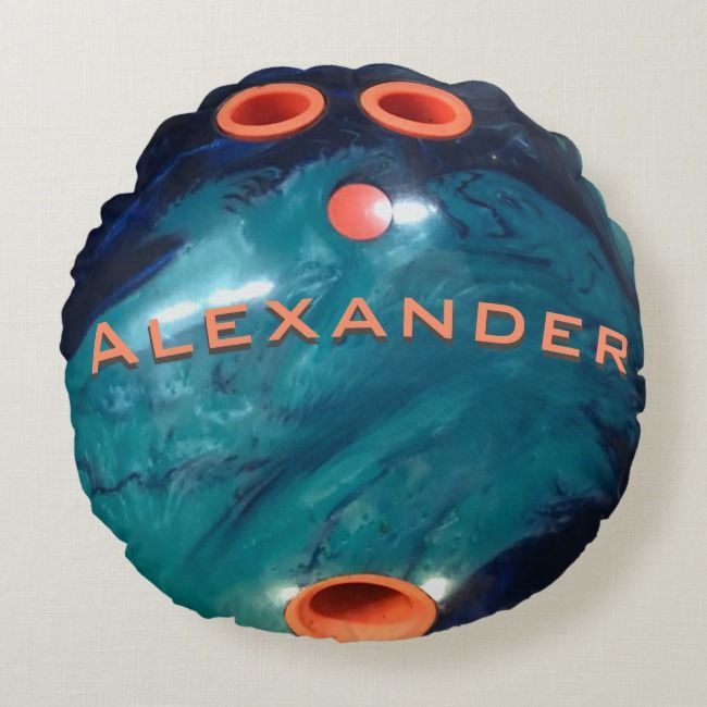 Custom Blue Marble And Orange Bowling Ball Round Pillow Zazzle Com Round Pillow Bowling Ball Mosaic Projects