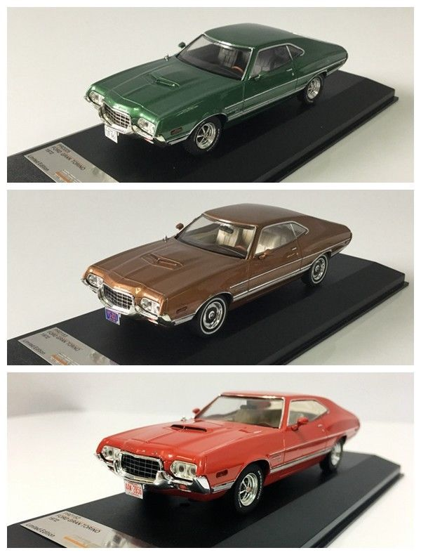 2pcs 1 43 Car Model Ford Gran Torino Sport 1972 Green Gold Ixo