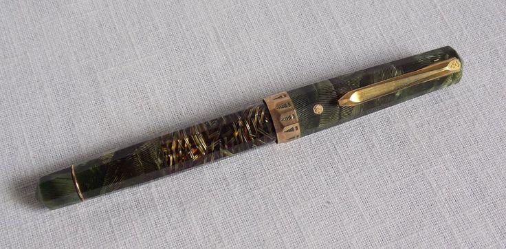 Eversharp Doric Fountain Pen Adjustable Gold Nib Green Vintage Made in USA #Eversharp