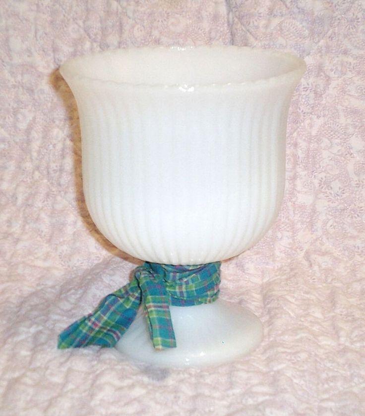 Vintage Milk Glass Pedestal Planter Vase EO Brody Turquoise Plaid Fabric Ribbon #EOBrody