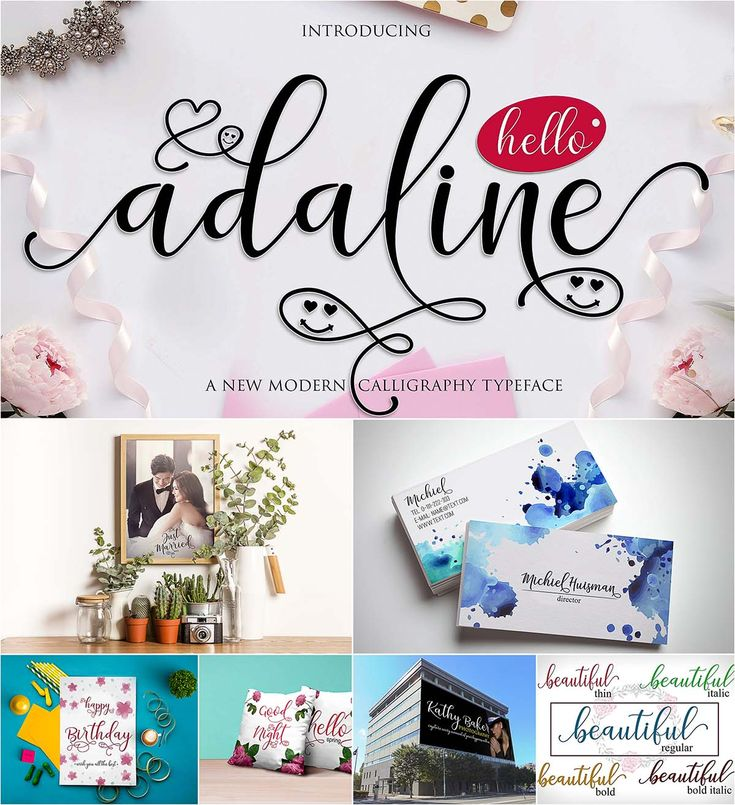 Adaline Script a new fresh and modern script with a handmade calligraphy style, decorative characters and a dancing baseline! So beautiful on invitation like greeting cards, branding materials, business cards, quotes, posters, lettering and more. Free for download. For personal use. File format: .otf, .ttf for Photoshop or other software. File size: 1 Mb.