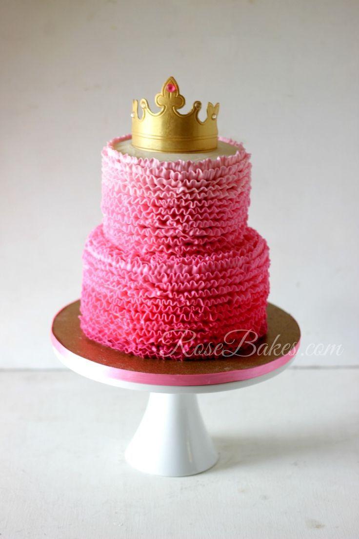 Pink Ombre Ruffles Princess Cake