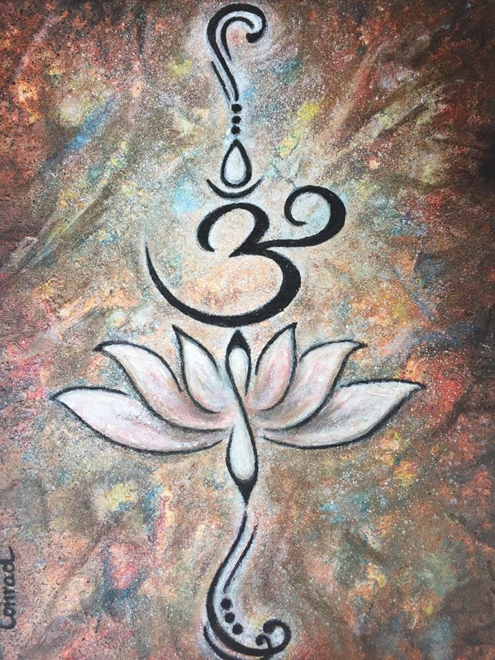 Buddhist writing. The Lotus flower means Recovering from difficult times/ new beginnings. The Om stans for Love,Kindness and Protection. Acryl Painting by Conrad van Zelst