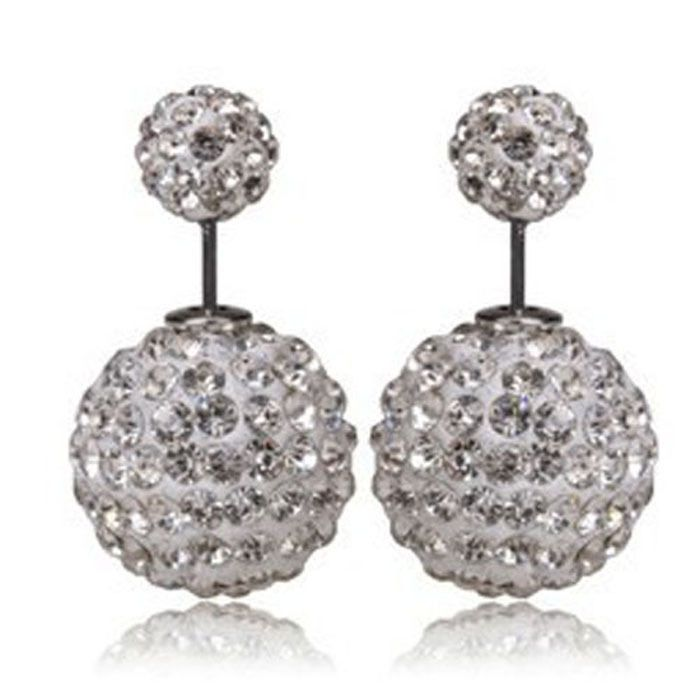New Arrived Women Crystal Diamante Two Side Ball  Double Use Earrings Ear Stud #Unbranded #Stud