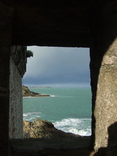 St. Malo - the Opal Coast viewed from fortifications  of town walls.