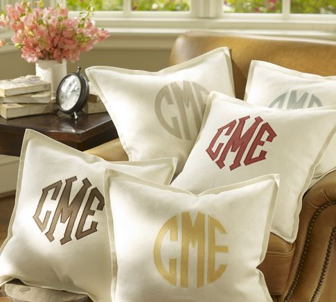 Monogram Applique Pillow Cover from Pottery Barn (under $40)