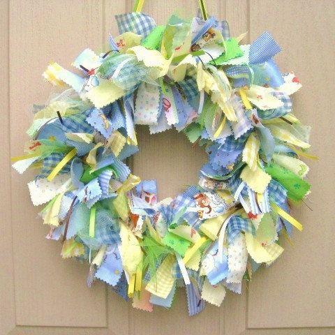 Newborn baby boy fabric wreath nursery decor new baby for Baby boy door decoration