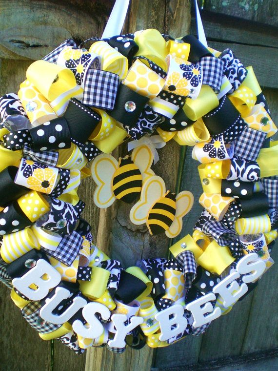 Black And Yellow Bumble Bee Themed Ribbon Wreath By KraftinMommy