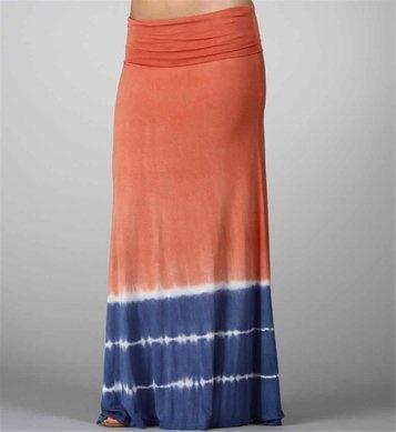Coral/Blue Maxi Skirt