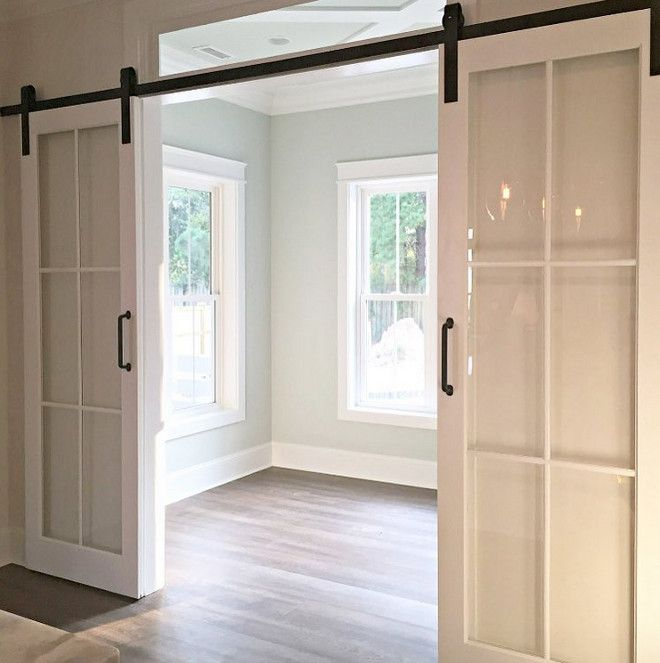 Sliding Glass Barn Door. Sliding glass doors on barn door hardware is a great alternative to barn door especially when the space lack on natural light. #slidingbarndoor #slidingglassdoor #barndoor #barndoorhardware barn-door Via susie_harris42 on Instagram