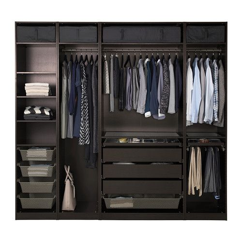 PAX Wardrobe, black-brown, Vinterbro white Vinterbro white black-brown 250x60x236 cm standard hinges                                                                                                                                                                                 More