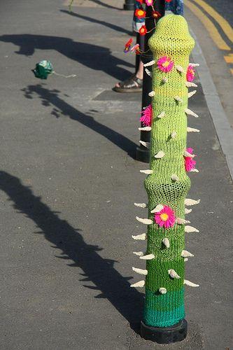 Guerilla knitting on North Street Green