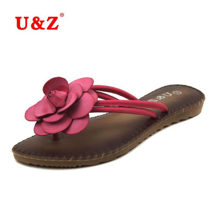 Female Trends Camellia Slippers Summer soft Flip Flops Sandals,Lovely Sweet Real leather insole beautiful flowers Slippers women