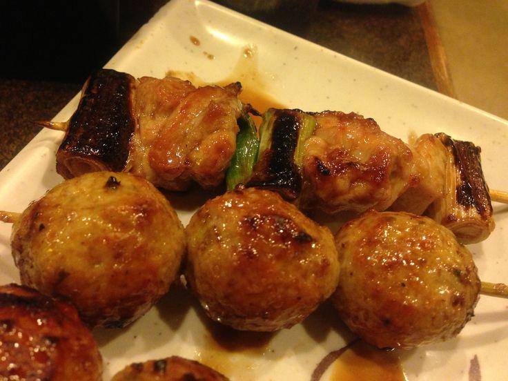 つくね (tsukune / chicken meatballs) and negima — たぬき ...
