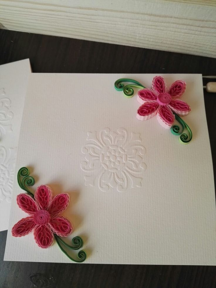 embossing and quilling combination postcard
