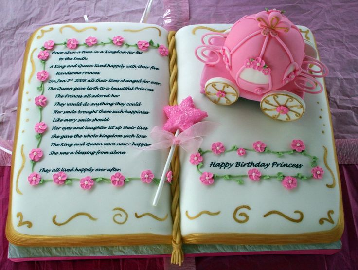 Princess Storybook Birthday Cake - First Bday cake for young lady in San Diego CA.  Carriage is styrofoam ball with gumpaste wheels (Wilton 2009 design).  Star wand is F/GP mix covered with pink sugar. Story is icing sheet from story sent to me by the bday girl's mother. Gold page edges were done with brushed on dry Super Gold luster dust (tried painting them first and figured out quickly that dry dusting worked better). Used two separate 9 X 13 rectangular pans for the book.