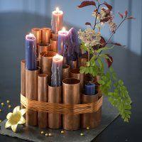 Un bougeoir en tubes de cuivre - Marie Claire Idées
